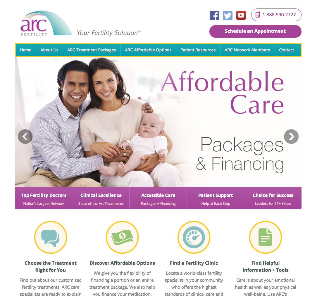 ARC Fertility Clinics Website