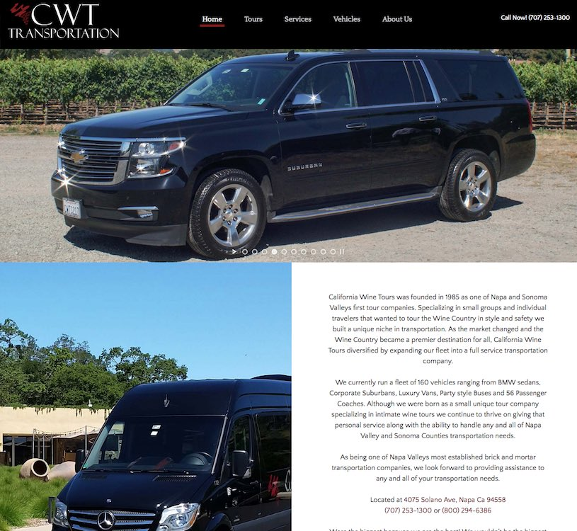 California Wine Tours Website