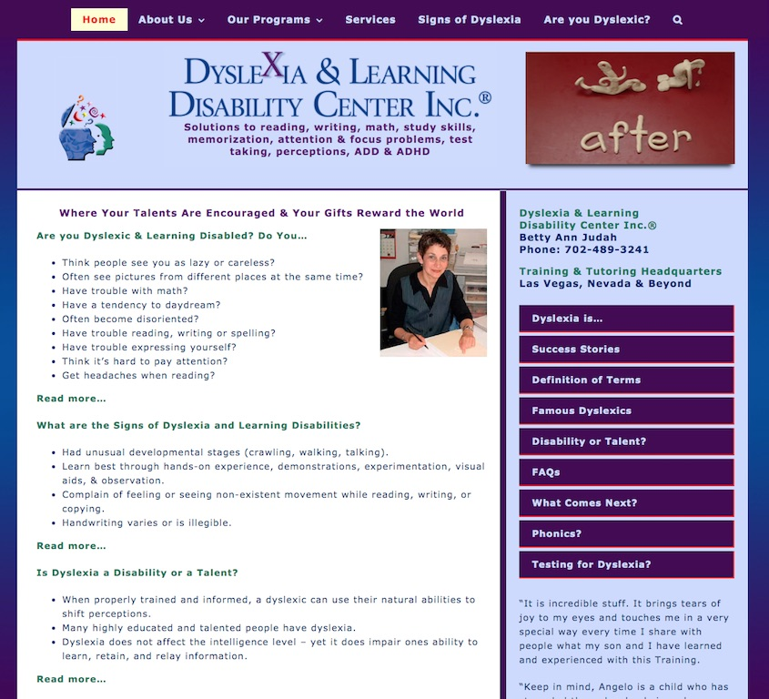 Dyslexia & Learning Center Website